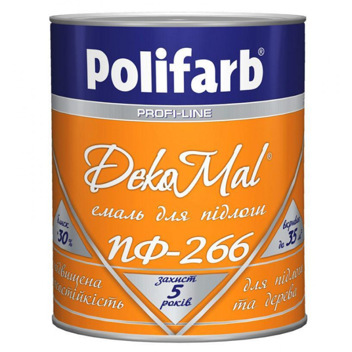 Эмаль для пола Polifarb DekoMal ПФ-266 ГОСТ (Полифарб) (2,7 кг/желто-коричневая)