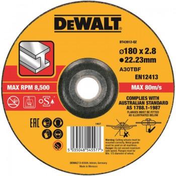 Круг отрезной по металлу 180 х 2.8 х 22.23 мм DeWALT DT43912