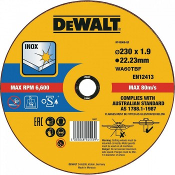 Круг отрезной INOX по металлу 230х1.9х22.23 мм DeWALT DT43909